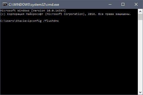 команда «ipconfig /flushdns»