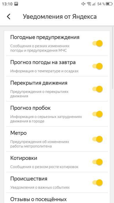 Уведомления от Яндекса