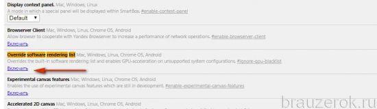 Override software rendering list